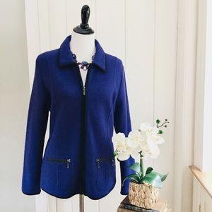 LAURA ASHLEY Dark Bluish Purple 100% Wool Jacket